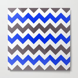Blue Nebulas and Grey ZigZag Chevron Pattern Metal Print