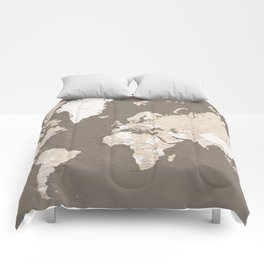 """World map with cities """"Earth tones"""" - SIZES LARGE & XL ONLY Comforters"""
