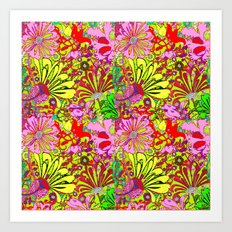 Red & Yellow Pink Abstracted Floral Garden Art Print