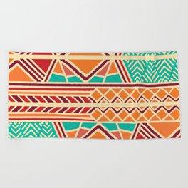 Tribal ethnic geometric pattern 027 Beach Towel
