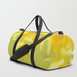 Sign of Spring - Yellow Narcissus on Spring Green Background #decor #society6 #buyart Duffle Bag