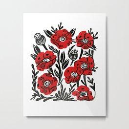 Poppies - linocut art,, linocut, woodcut, woodblock, floral art, poppies, poppy art, andrea lauren Metal Print