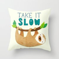 sloth Throw Pillows featuring Sloth by Claire Lordon