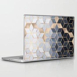 Soft Blue Gradient Cubes Laptop & iPad Skin