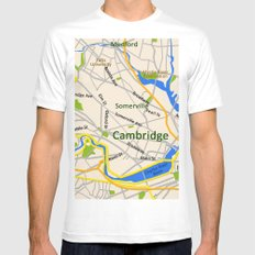 Map of Cambridge, MA, USA White Mens Fitted Tee MEDIUM