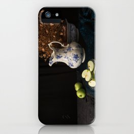 Green apples and china still life iPhone Case