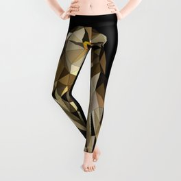 owl in brown and gold abstract geometric origami pattern on black background Leggings