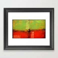 Textured abstract in green and orange Framed Art Print