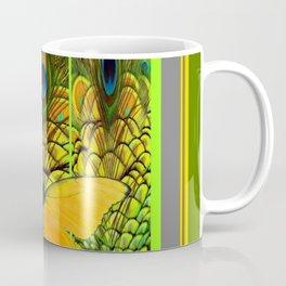 GREEN ART NOUVEAU BUTTERFLY PEACOCK PATTERNS Coffee Mug