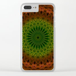 Mandala in green and red tones Clear iPhone Case