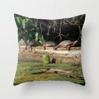 turtles Throw Pillows featuring Turtles by Stu Willard