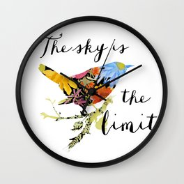 Bird Filled with Watercolor Flowers and Saying Wall Clock