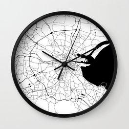 White on Black Dublin Street Map Wall Clock