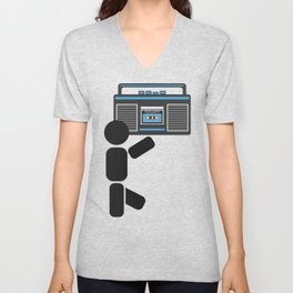 Dude with a boombox abstract drawing Unisex V-Neck