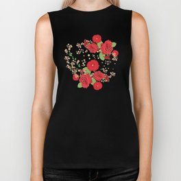 Red roses and poppies on teal Biker Tank
