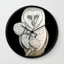 Barn owl and Mushrooms Wall Clock