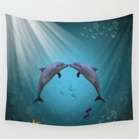 dolphins Wall Tapestries featuring dolphins love by haroulita