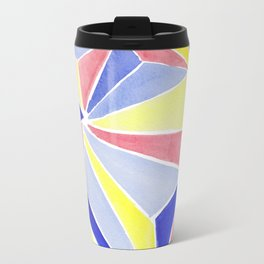 Watercolor colorful beach triangles. Watercolor geometry 3D effect. Travel Mug