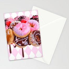 CHOCOLATE & PINK  STRAWBERRY GLAZED DONUTS ART Stationery Cards