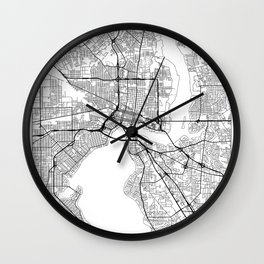 Jacksonville Map White Wall Clock