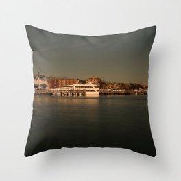 New York City, Brooklyn, Sheepshead Bay, boat, water (2019-12-GNY58) Throw Pillow