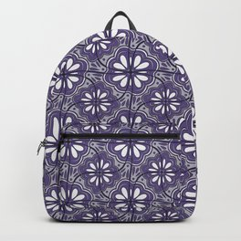 Continuous Flower Pattern Tessellation in Purple Backpack