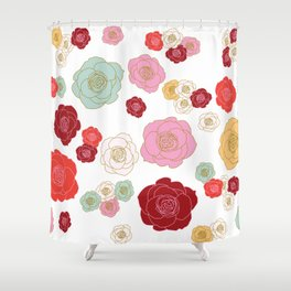 floral roses in warm reds Shower Curtain