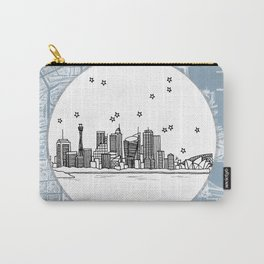 Sydney, New South Wales, Australia City Skyline Illustration Drawing Carry-All Pouch
