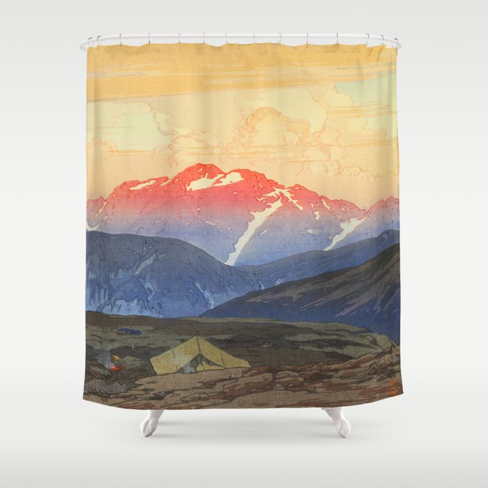 Tsurigizan Morning Hiroshi Yoshida Vintage Japanese Woodblock Print Shower Curtain