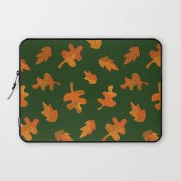 Autumn Leaf Scatter on Dark Olive (pattern) Laptop Sleeve
