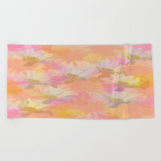 Painted Spring Flowers Beach Towel