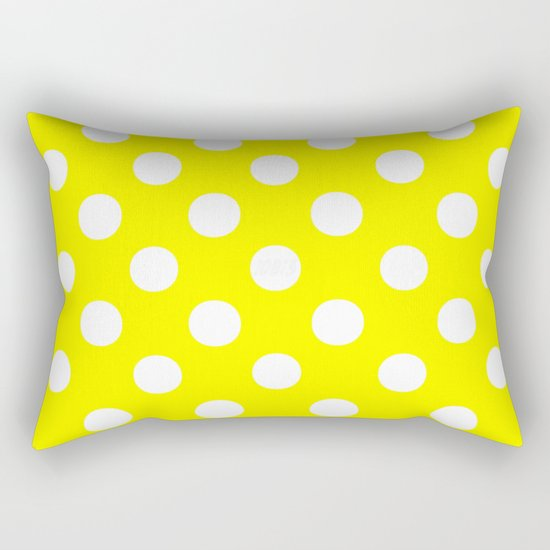 Polka Dots (White/Yellow) Rectangular Pillow