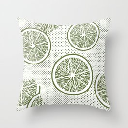 Orange slices and dots seamless pattern, from the Orange Blossom Pattern Collection Throw Pillow