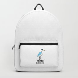 Just a Boy Who Loves Great Blue Heron Birds Backpack