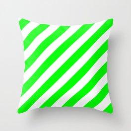 Diagonal Stripes (Green/White) Throw Pillow