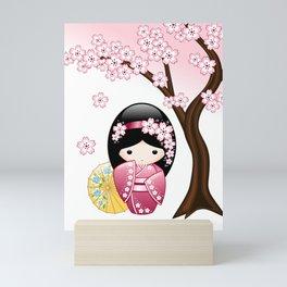 Japanese Spring Kokeshi Doll Mini Art Print