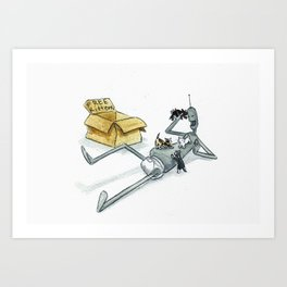 Lost Robot - Free Kittens Art Print