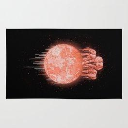 elephants on moon (variant) coral Rug