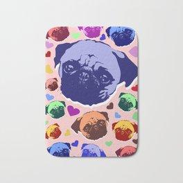 Pug Puppy Dog Love Hearts Pattern Bath Mat