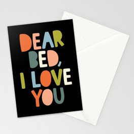 DEAR BED I LOVE YOU green orange peach pink and blue Stationery Cards