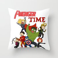 avenger Throw Pillows featuring Avenger Time! by ArtisticCole