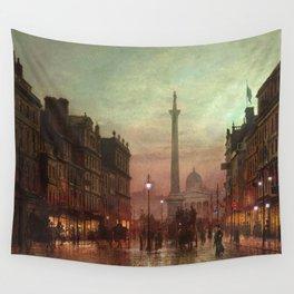 Trafalgar Square, Nelson's Column, London, England, Twilight by John Atkinson Grimshaw Wall Tapestry