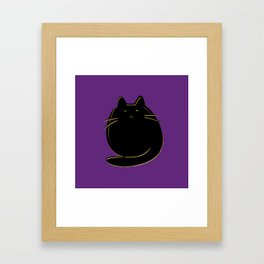 Cute black and gold cat on purple Framed Art Print