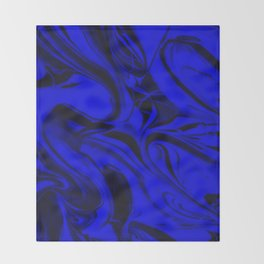 Black and Blue Swirl - Abstract, blue and black mixed paint pattern texture Throw Blanket