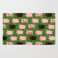 pigs Area & Throw Rugs featuring Pigs by Paper Bicycle