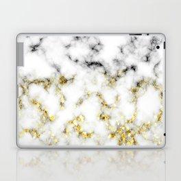 Black and white marble gold sparkle flakes Laptop & iPad Skin