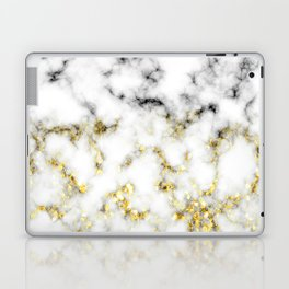 Black and white marble gold sparkle flakes Laptop & iPad Skin