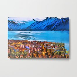 City of Mountains Landscape Painting by Jeanpaul Ferro Metal Print