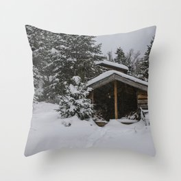 Winter at Lonesome Lake Hut Throw Pillow