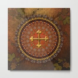 Mandala Armenian Cross Metal Print